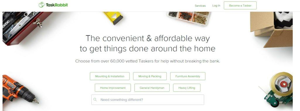 TaskRabbit website screenshot showing various tools against a white background, along with information about getting things done around the home.