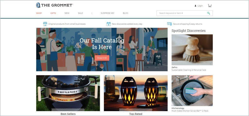 screenshot of The Grommet homepage
