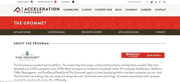 screenshot of the affiliate sign up page for The Grommet