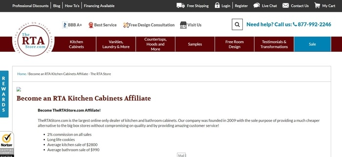 screenshot of the affiliate sign up page for TheRTAStore.com