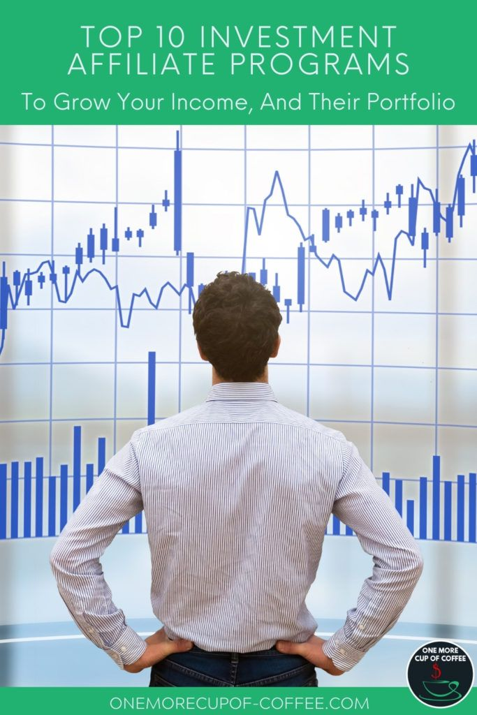 man with hand on his hips looking up on stocks graphs; with text overlay