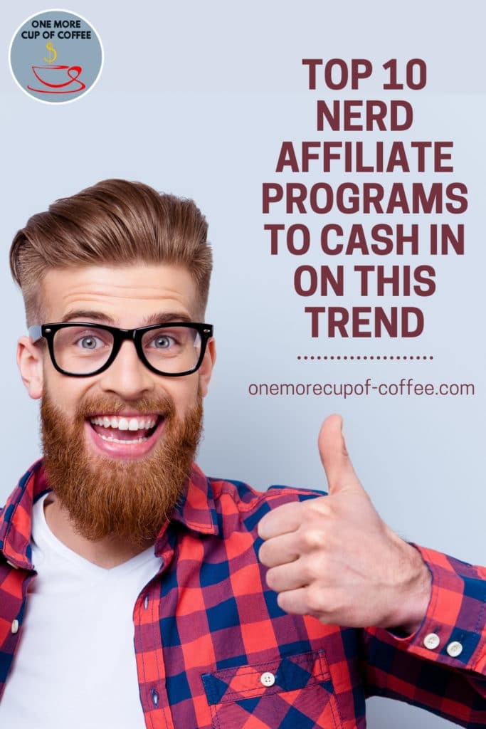 """bearded guy in black-rimmed eyeglasses, wearing a red plaid polo with white inner t-shirt, giving a thumbs up to the camera; with text overlay """"Top 10 Nerd Affiliate Programs To Cash In On This Trend"""""""
