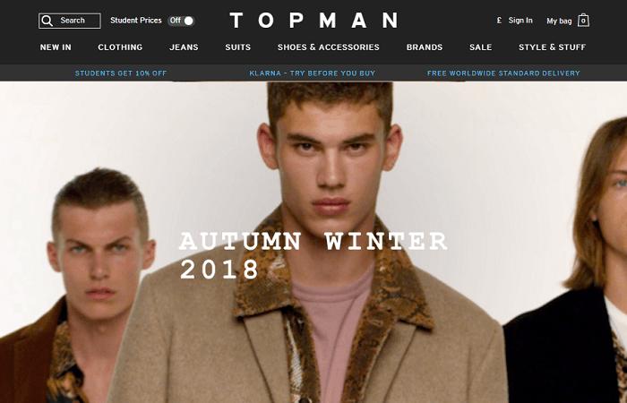 Topman website homepage