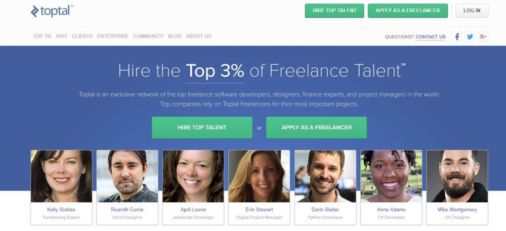 Toptal website screenshot showing various freelancers with an image, name and skill for each.