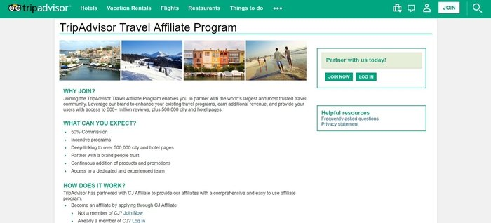 screenshot of the affiliate sign up page for TripAdvisor