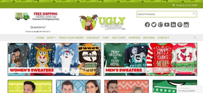 screenshot of the affiliate sign up page for Ugly Christmas Sweater