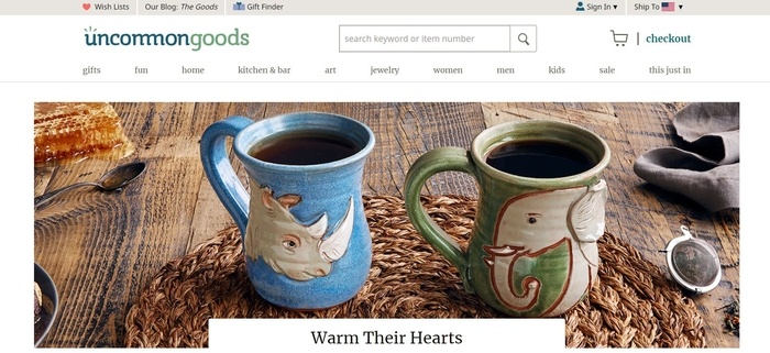 screenshot of the affiliate sign up page for UncommonGoods