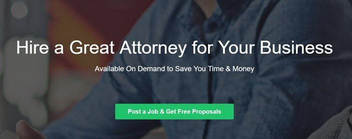 UpCounsel website screenshot showing a background image of a young man, just showing his shirt. White text talks about hiring a great attorney.