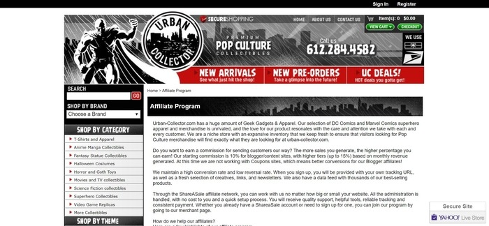 screenshot of the affiliate sign up page for Urban Collector