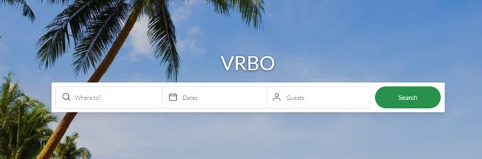 VRBO website screenshot showing an image of a palm tree and the sky, along with boxes about location, dates and guests.