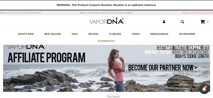 screenshot of the affiliate sign up page for VaporDNA