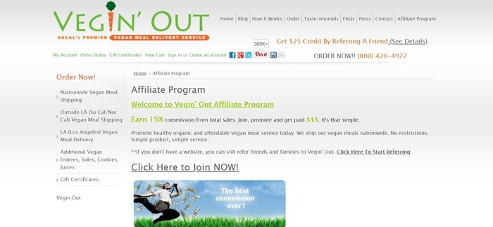 screenshot of the affiliate sign up page for Vegin' Out