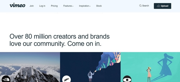 screenshot of the affiliate sign up page for Vimeo