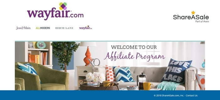 screenshot of the affiliate sign up page for Wayfair