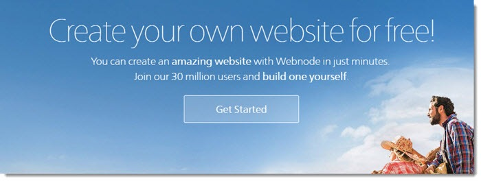 Webnode website screenshot showing a blue sky with clouds and a family in the bottom right
