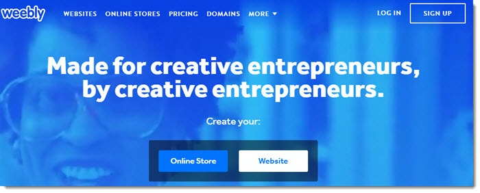 Weebly website screenshot showing a blue overlay over a woman with glasses and text that talks about being made and for creative entrepreneurs