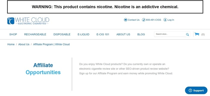 screenshot of the affiliate sign up page for White Cloud Electronic Cigarettes