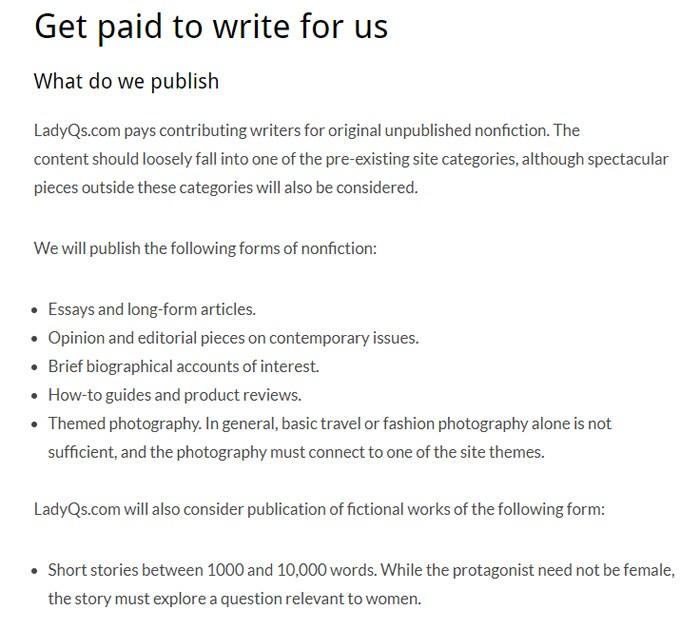 Write For LadyQs