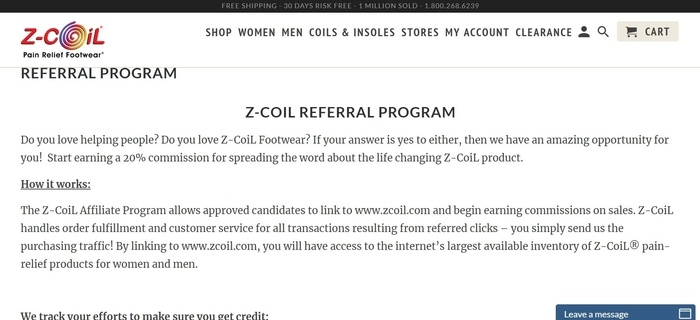 screenshot of the affiliate sign up page for Z-Coil