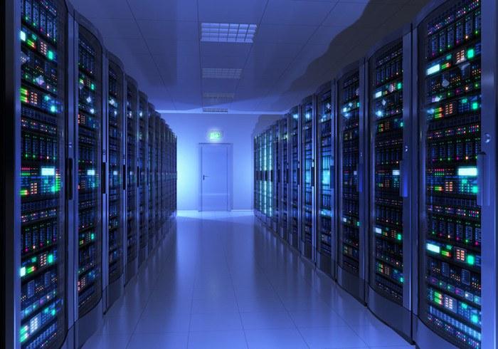 blue tinted server room showing the best hosting affiliate programs