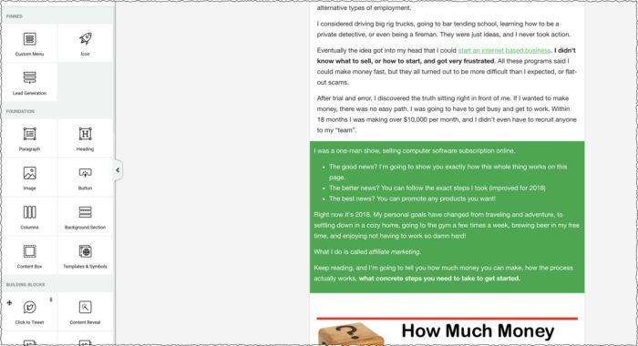 green box highlighted text showing ways to break up text