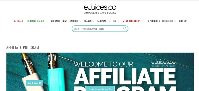 screenshot of the affiliate sign up page for eJuices.co