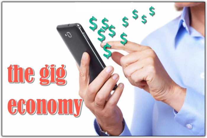 """middle aged white man on smartphone with dollar signs floating up and the text """"gig economy"""" showing how people can make money from their smartphones by signing up to share and earn money"""