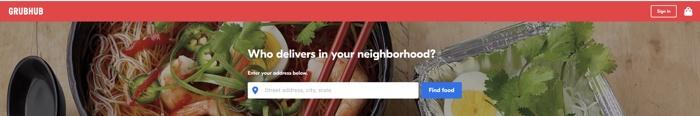 screenshot of the grub hub website