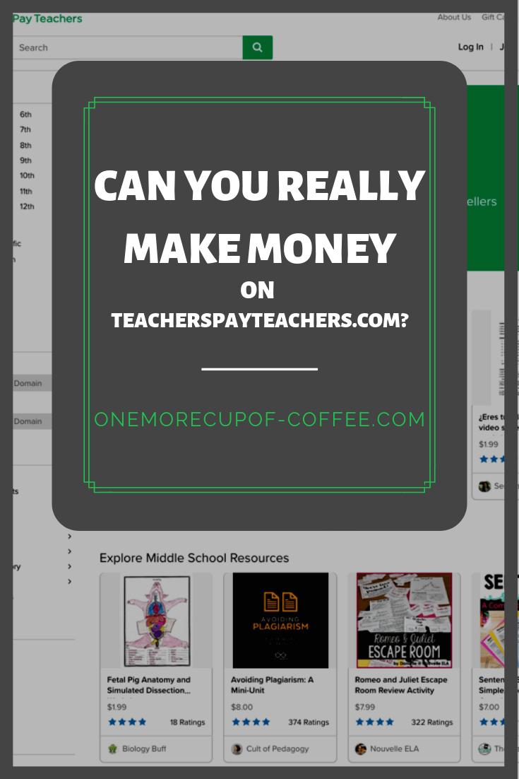 """screenshot of teacherspayteachers.com with the headline """"make money teacherspayteachers.com"""""""