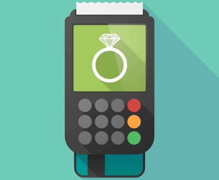 cartoon drawing of credit card machine and receipt with a picture of a wedding ring on the screen symbolizing paying for a wedding with credit cards