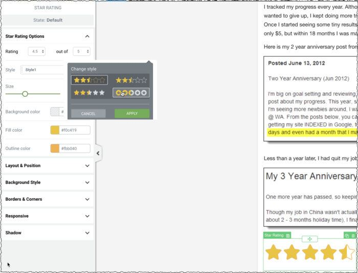 star ratings with Thrive Architect