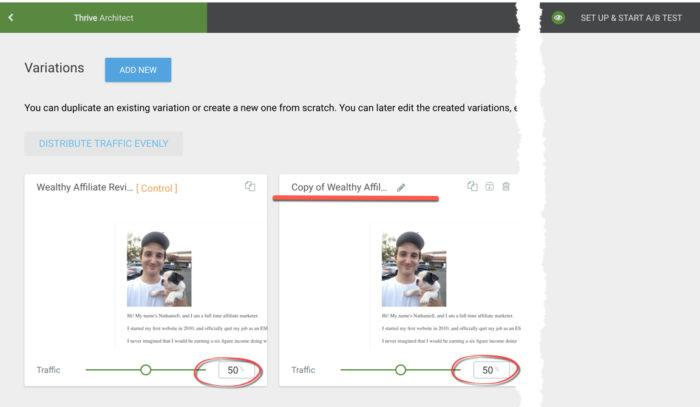 example thrive optimize testing email capture landing pages