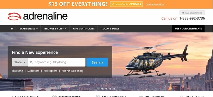screenshot of the affiliate sign up page for Adrenaline