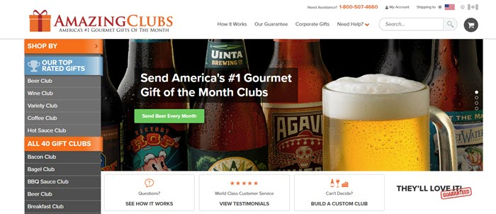 Amazing Clubs website screenshot showing links to the various clubs, along with an image of beer bottles and a mug of beer.