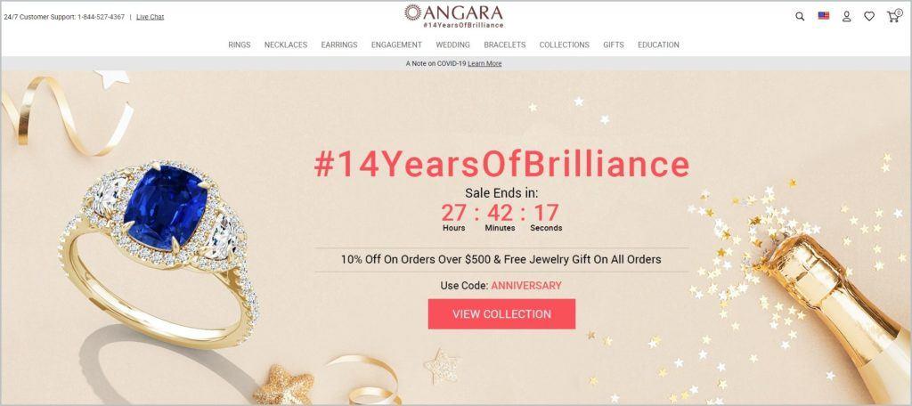 screenshot of Angara homepage