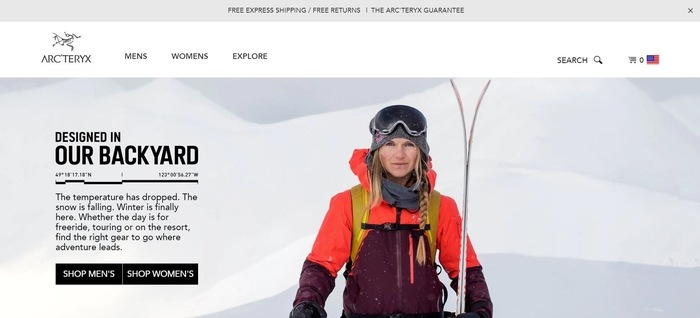 screenshot of the affiliate sign up page for Arc'teryx