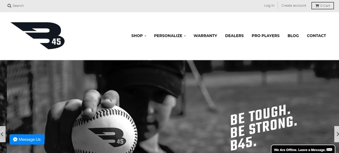 screenshot of the affiliate sign up page for B45 Baseball