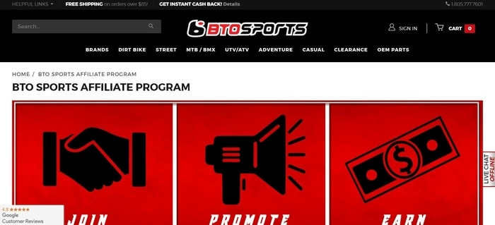 screenshot of the affiliate sign up page for BTO Sports