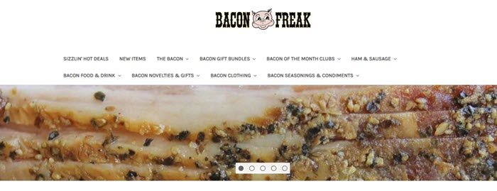 Bacon Freak website screenshot showing a close-up image of bacon.