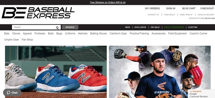 screenshot of the affiliate sign up page for Baseball Express