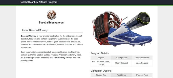 screenshot of the affiliate sign up page for BaseballMonkey