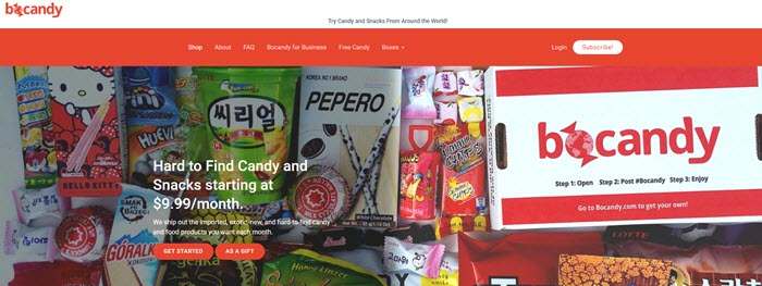 Bocandy Website Screenshot showing the box and a selection of candy.