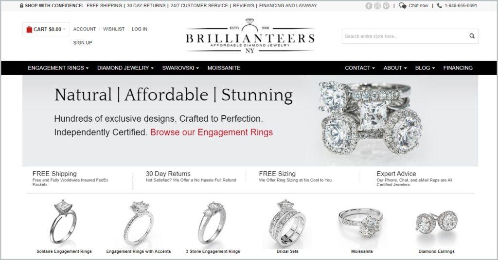 screenshot of Brillianteers homepage