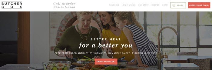 Butcher Box website screenshot showing a mother, daughter and grandmother cooking in the kitchen.