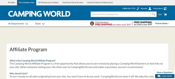 screenshot of the affiliate sign up page for Camping World