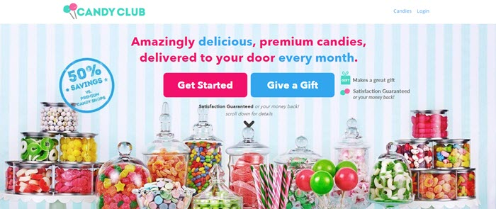 Candy Club website screenshot showing a selection of various sweets in jars.