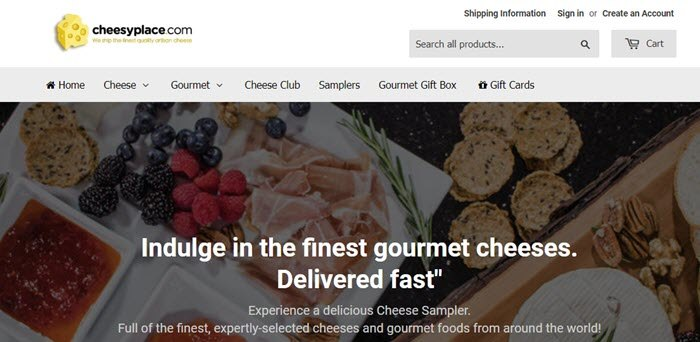 Cheesy Place website screenshot showing a top-down image of a cheese sampler.