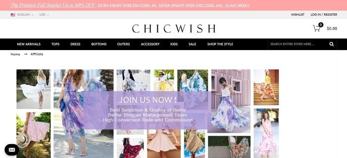 screenshot of the affiliate sign up page for Chicwish