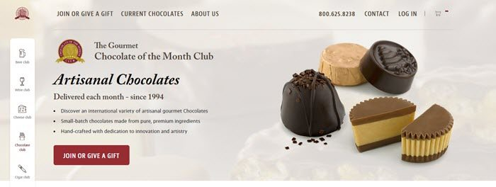 Chocolate of the Month Club website screenshot showing a handful of chocolate pieces with details about the club.