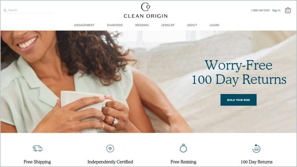 screenshot of Clean Origin homepage